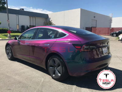 tesla model 3 purple vinyl car wrap