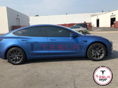 Tesla Model 3 blue vinyl wrap