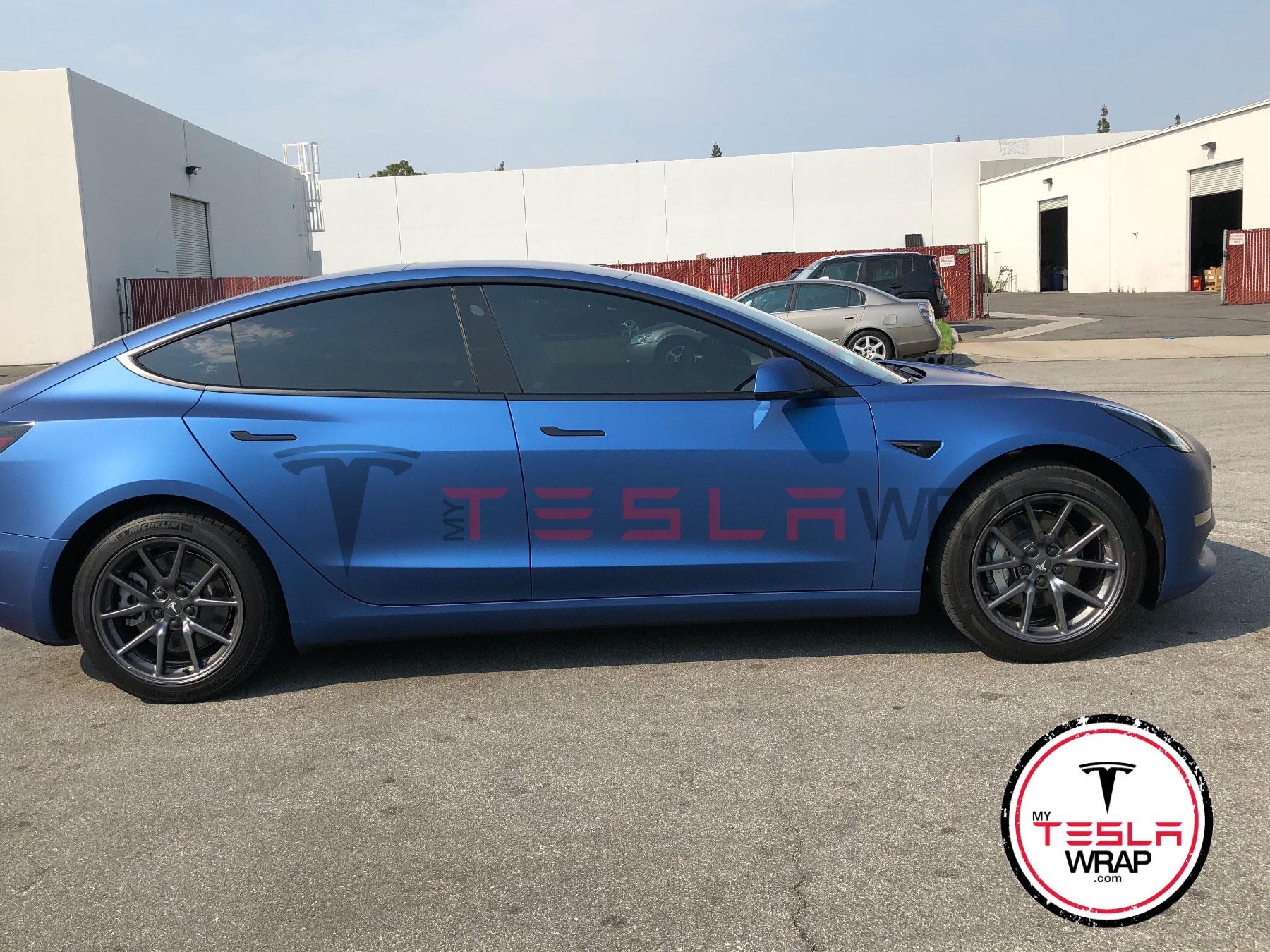 Tesla Model 3 blue vinyl car wrap