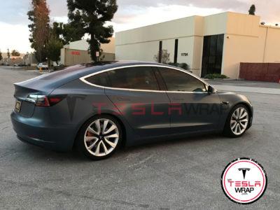 Tesla Model 3 matte black vinyl wrap