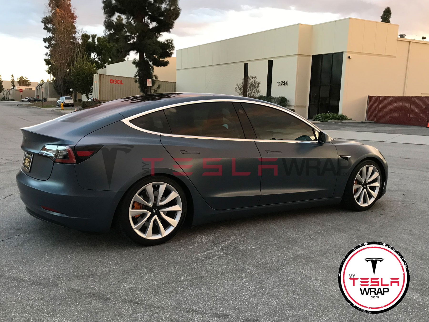 Tesla Model 3 matte black vinyl car wrap