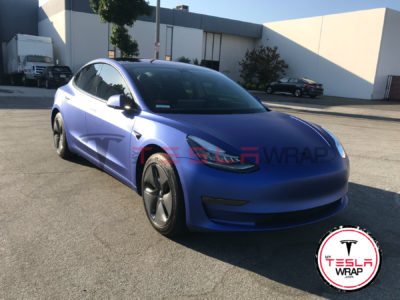 Tesla Model 3 Wrapped in Purple 3M vinyl car wrap