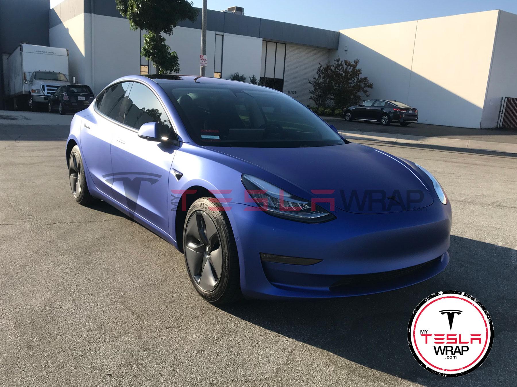 Tesla Model 3 Wrapped in Purple 3M vinyl car wrap