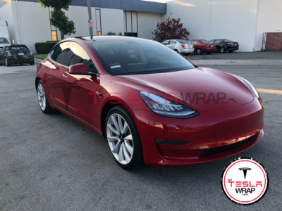 Tesla Model 3 red vinyl car wrap