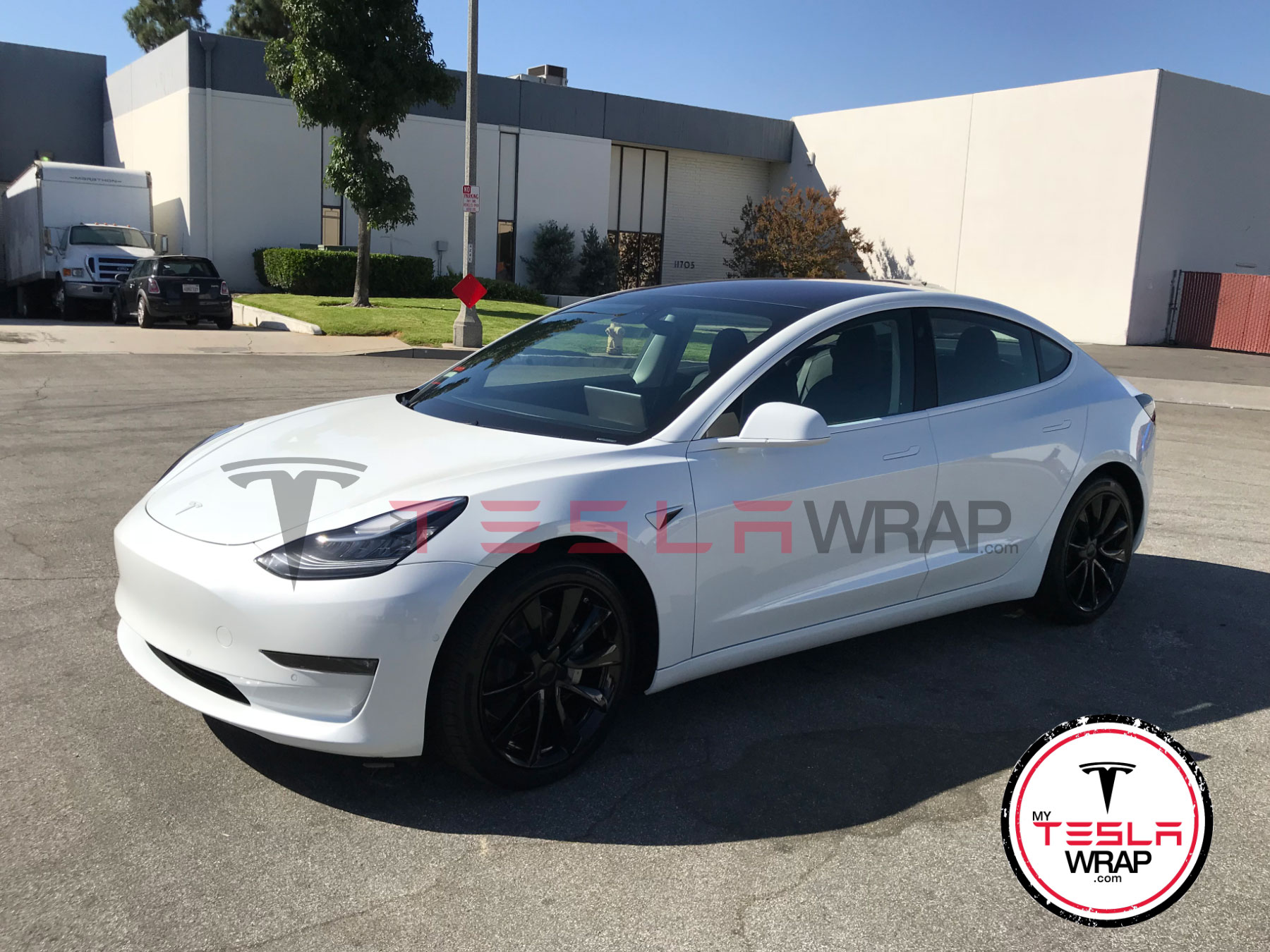 Tesla Model 3 Wrapped in White 3M vinyl carp wrap