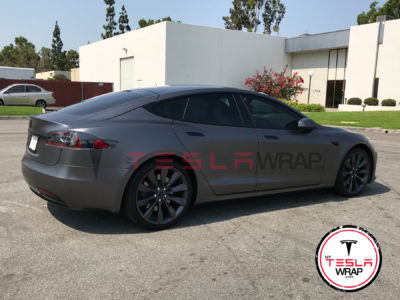 Tesla model S grey matte vinyl car wrap