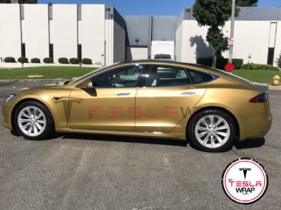 Chrome Tesla Model S car wrap