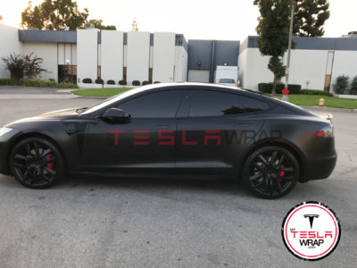 Tesla model S Satin black vinyl car wrap