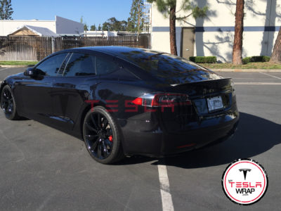 Tesla model S black vinyl car wrap