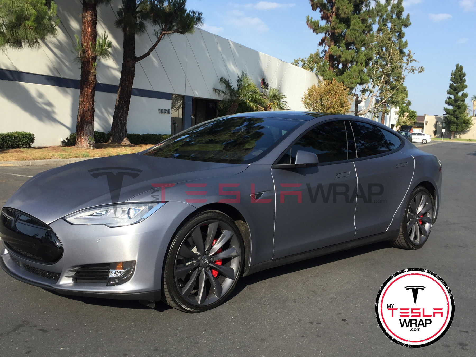Matte grey Tesla model S vinyl car wrap