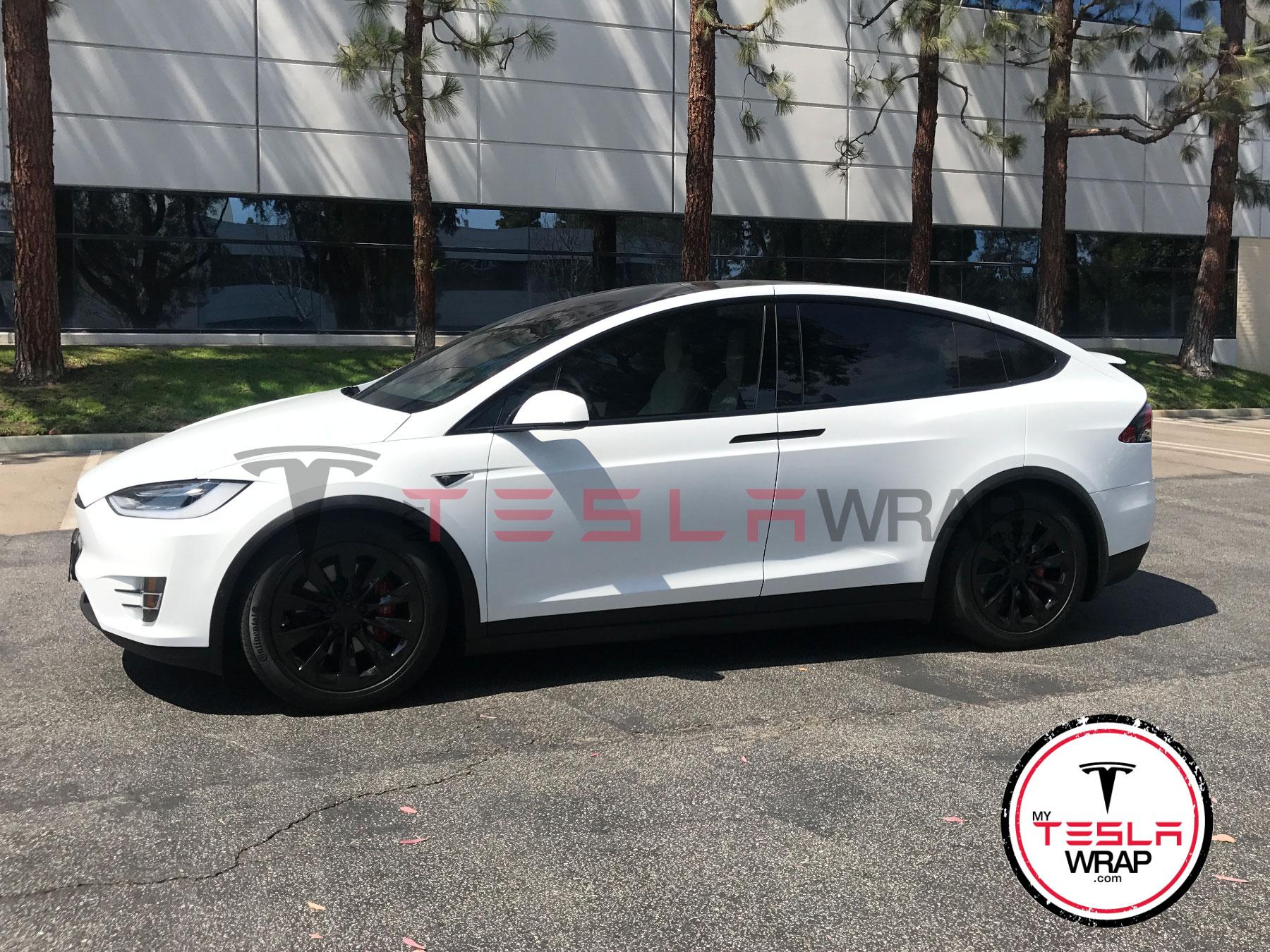 Tesla Model X white Vinyl car wrap