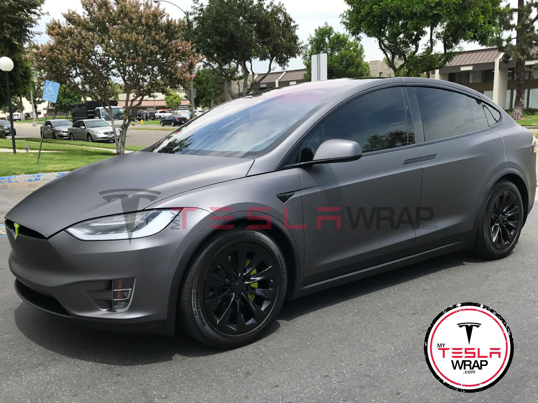 Tesla Model X matte grey vinyl car wrap