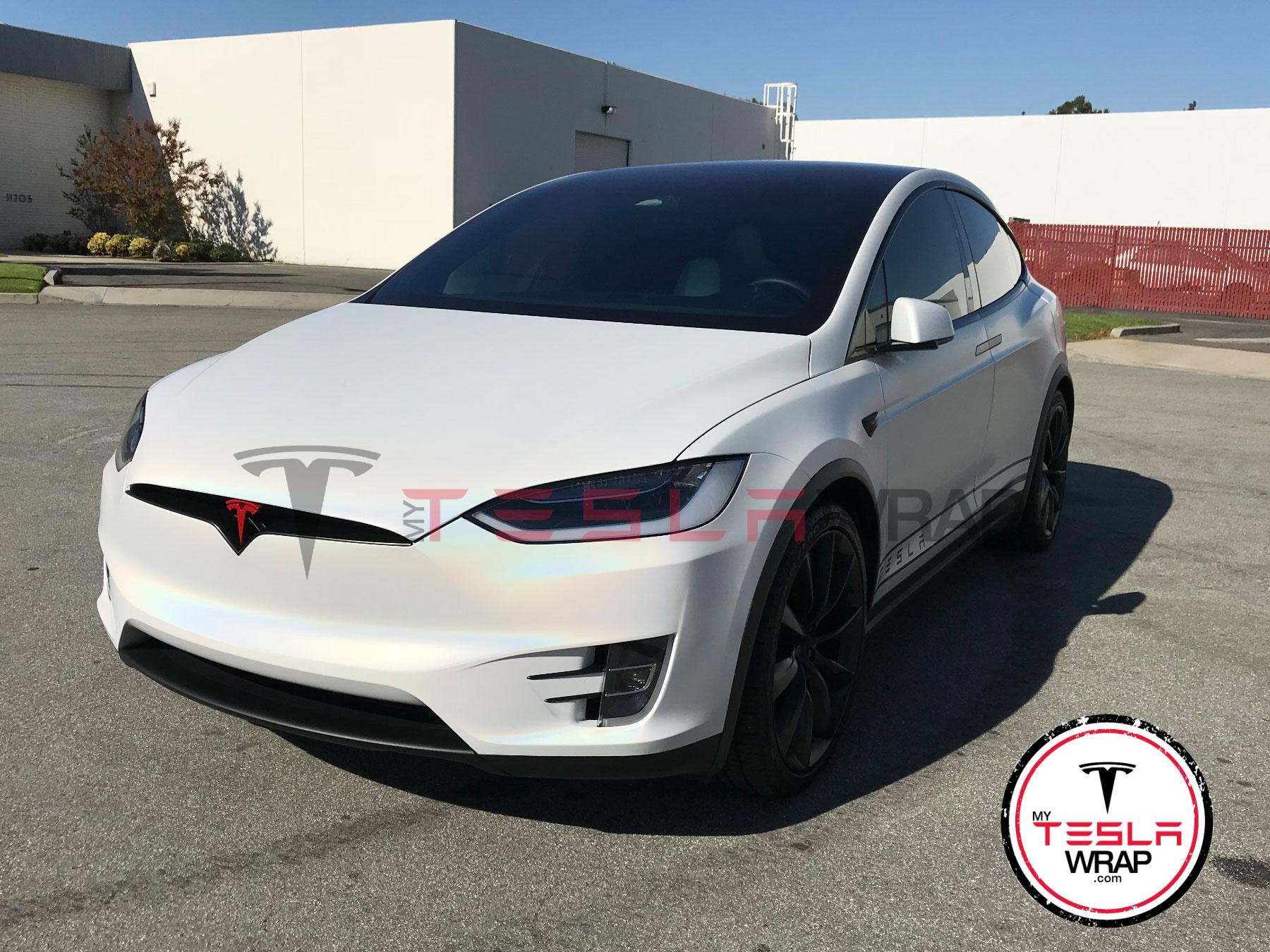 Tesla Model X Wrapped in White Gloss 3M vinyl car wrap